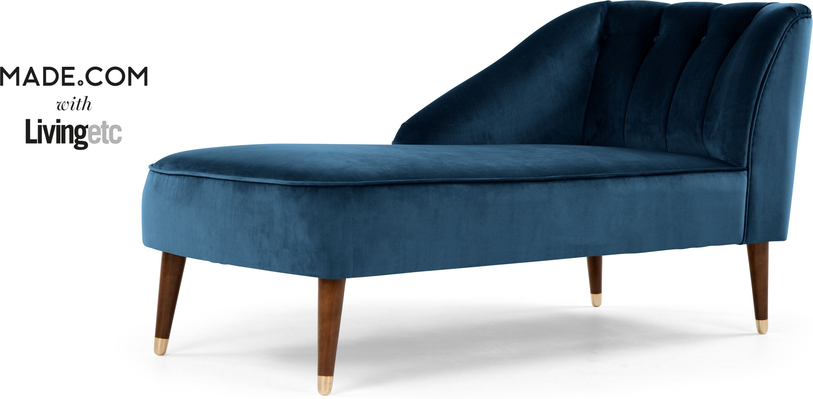 Margot Left Hand Facing Chaise, Midnight Blue Velvet