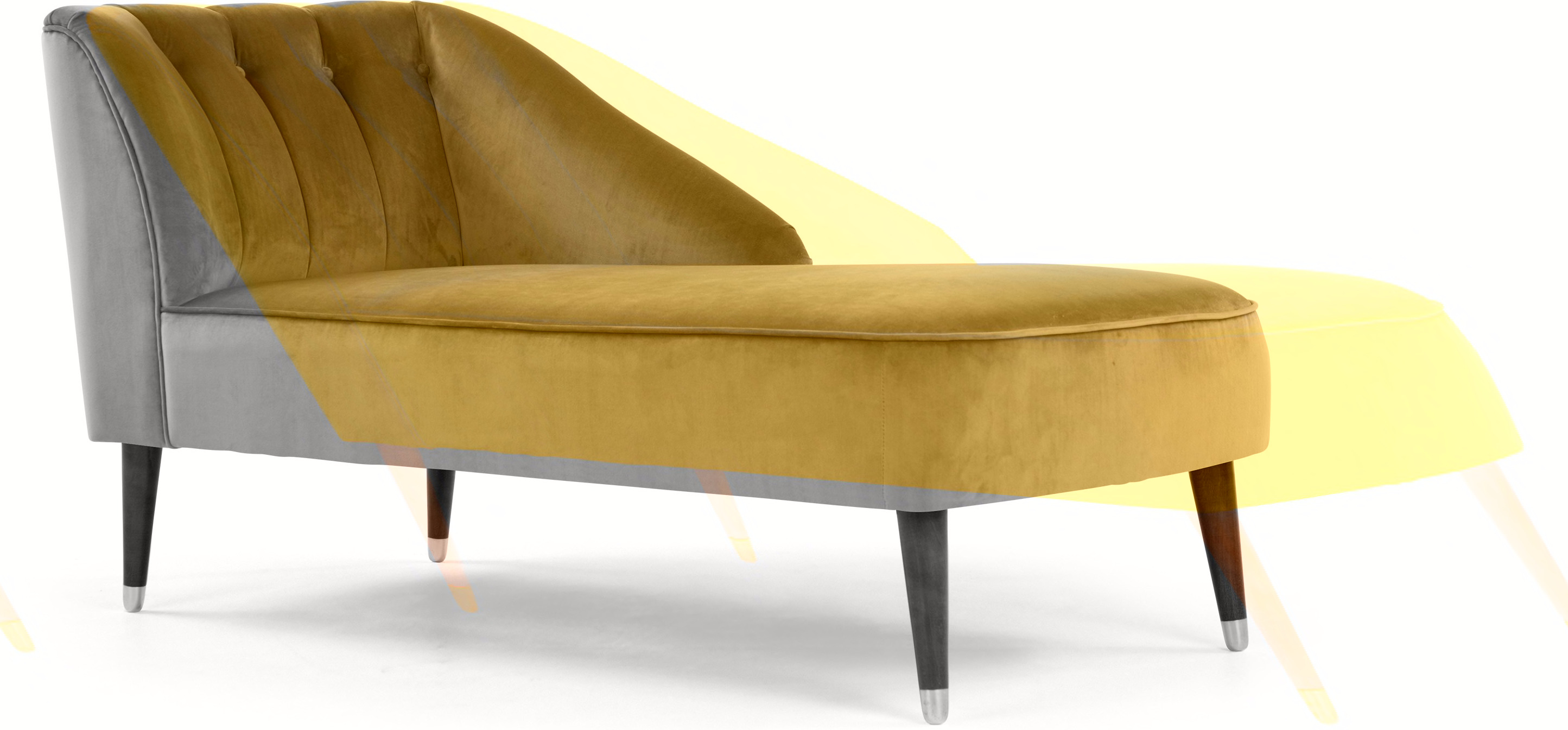 Margot Right Hand Facing Chaise, Antique Gold Velvet