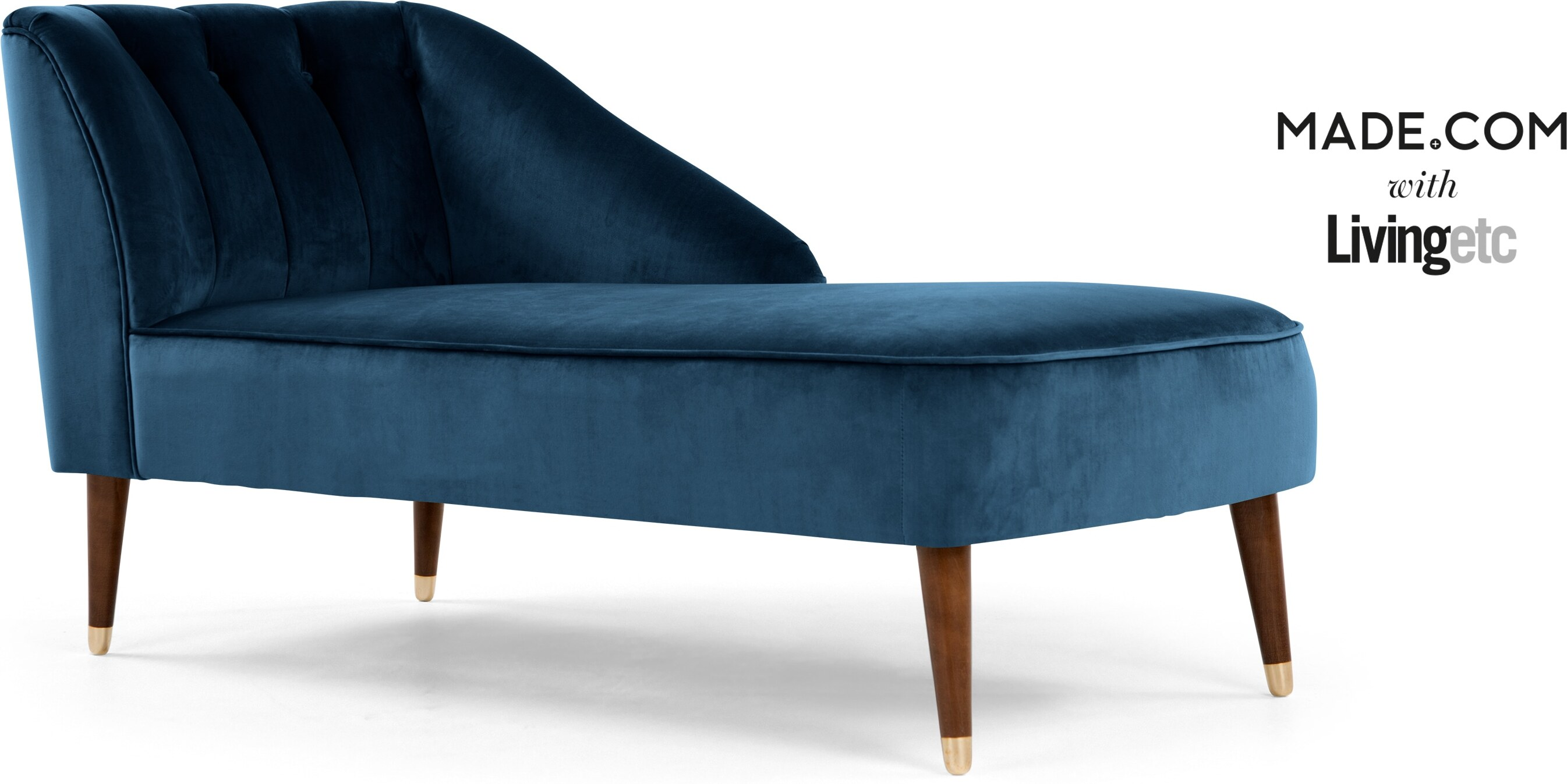 Margot Right Hand Facing Chaise, Midnight Blue Velvet