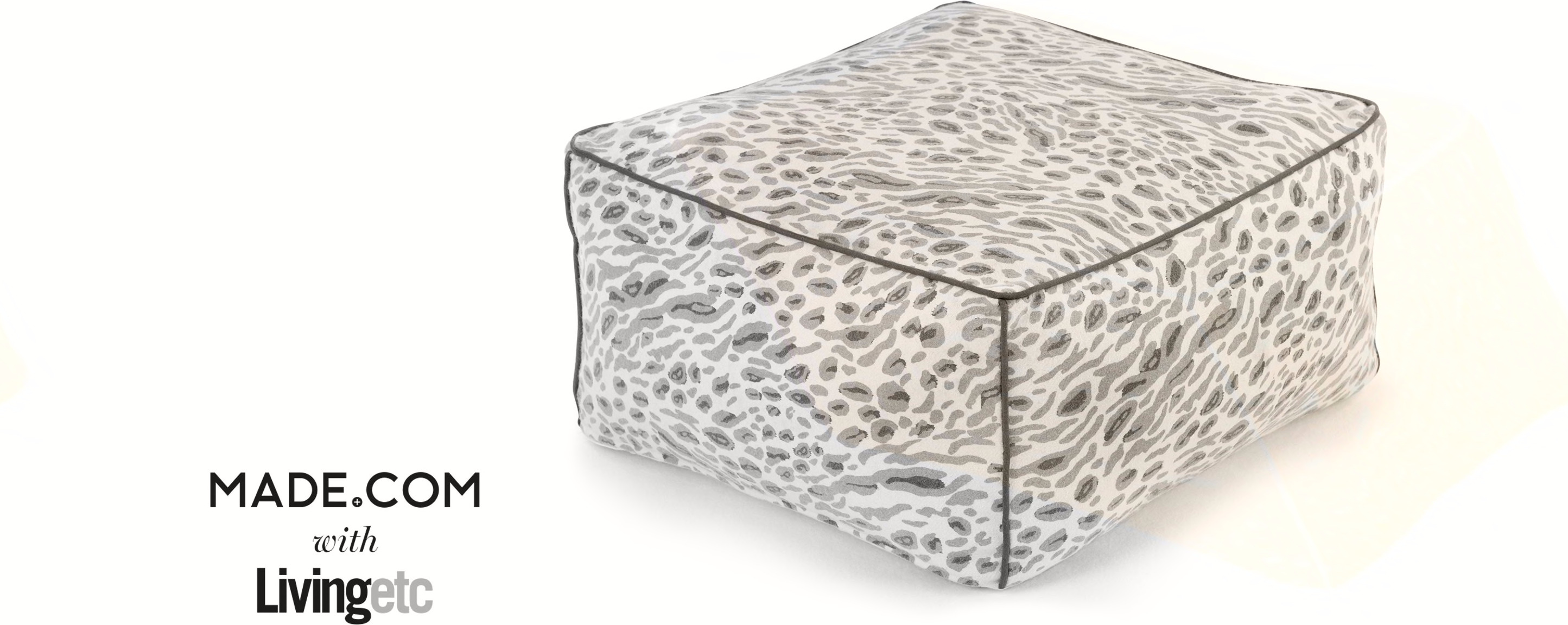 Harper Printed Pouffe, Cool Grey
