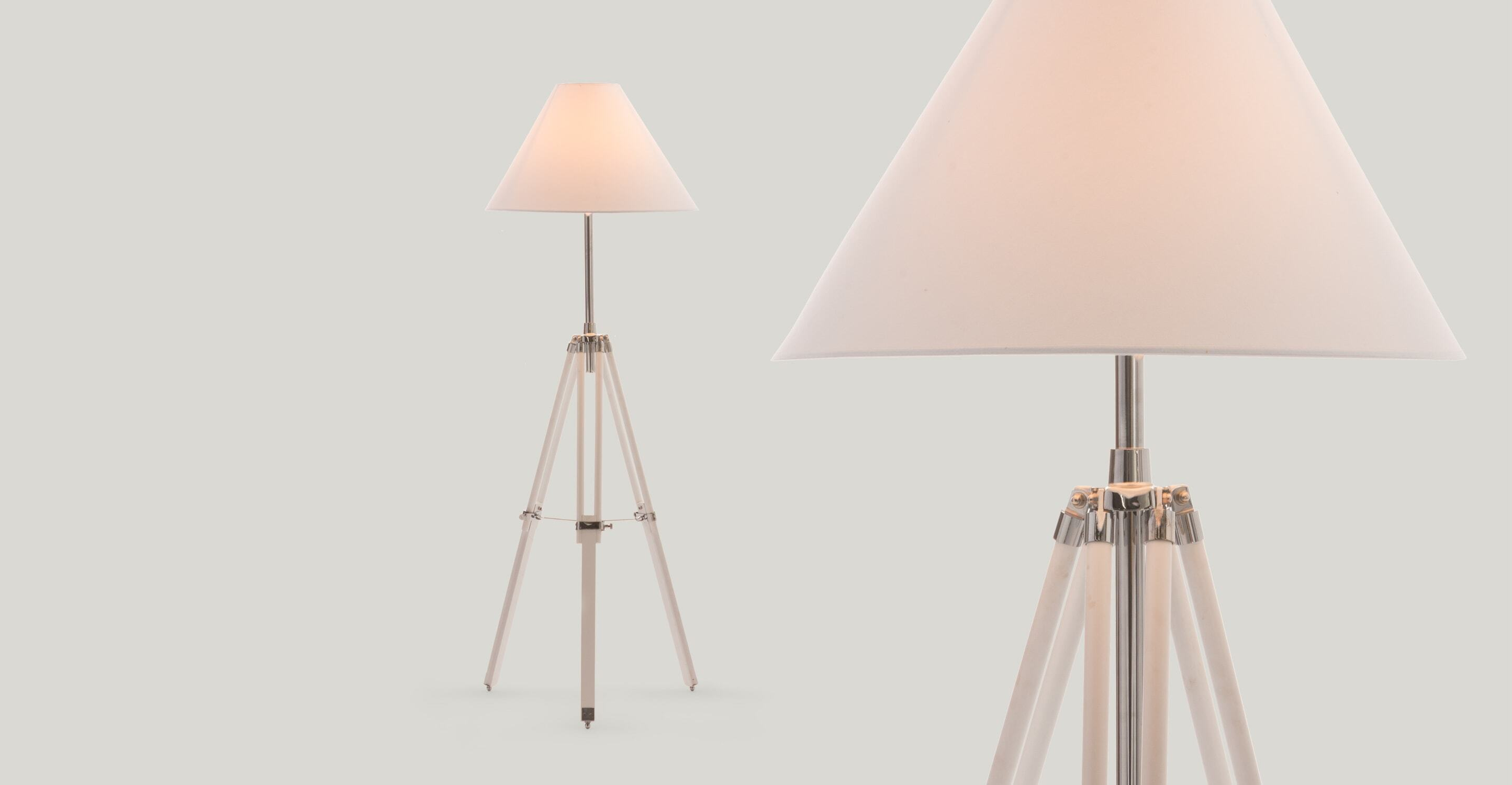 Navy Tripod Floor Lamp, White
