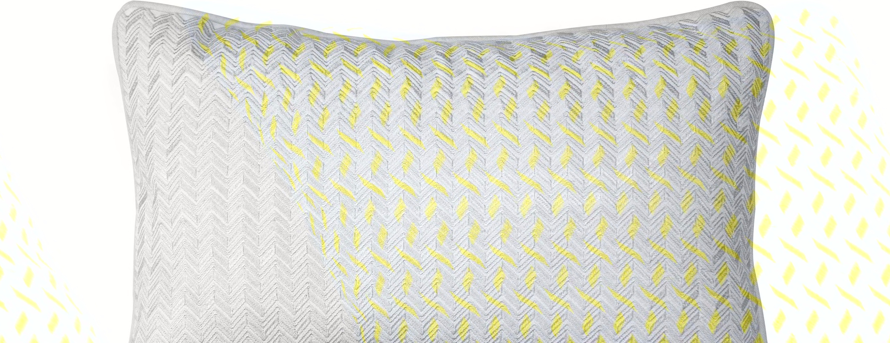 Sanremo Embroidered Cushion 30 x 45cm Grey and Yellow