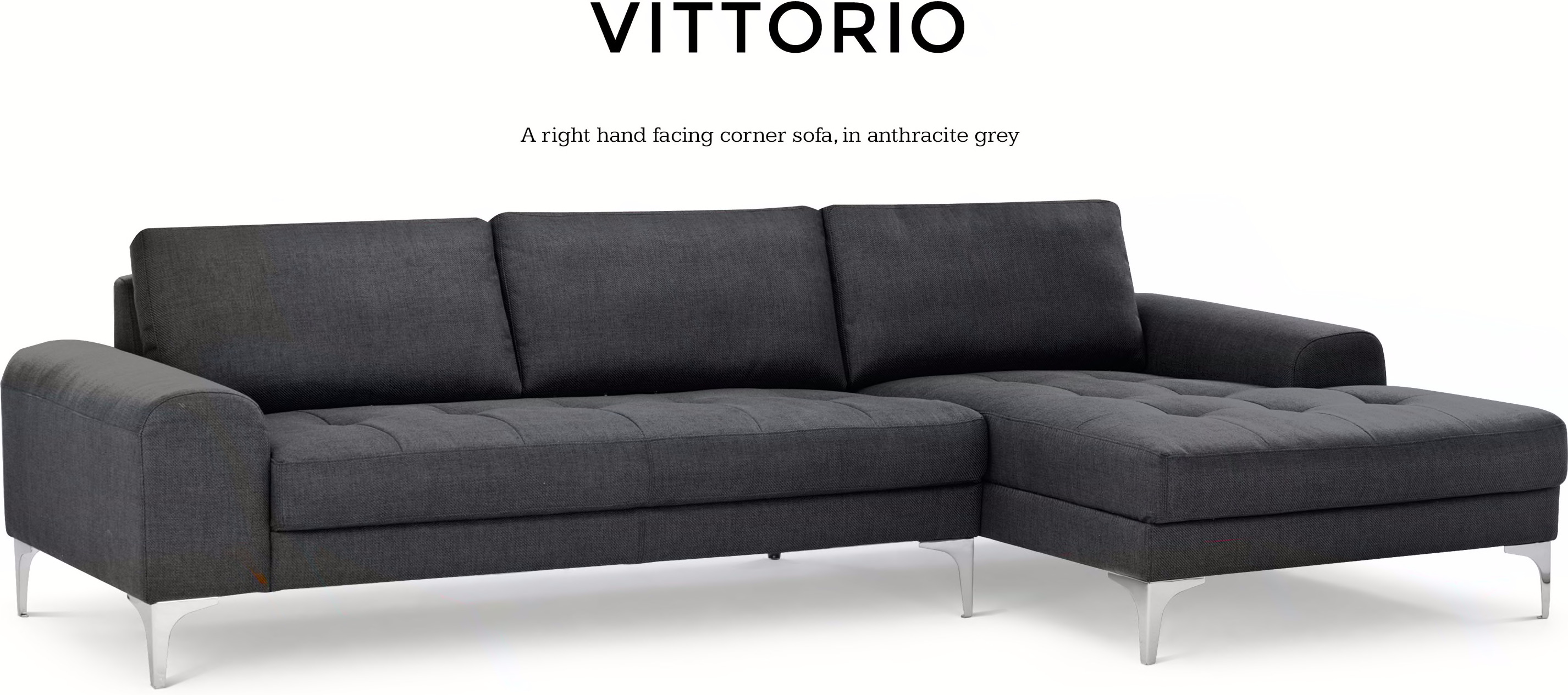 Vittorio Right Hand Facing Corner Sofa Group Anthracite Grey