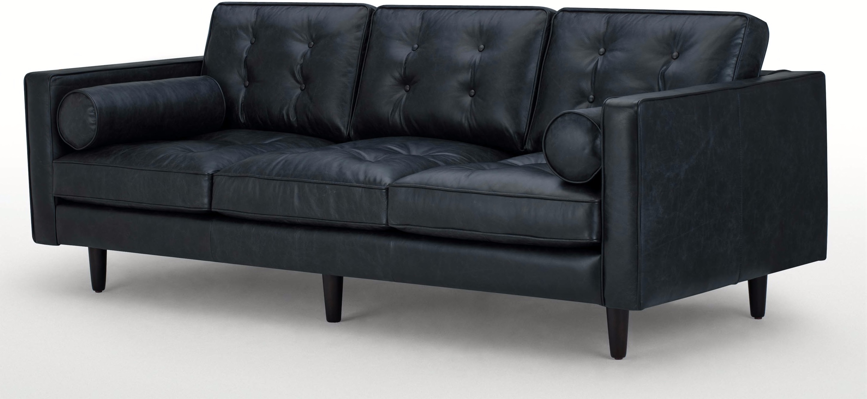 Buy cheap 3 seater black leather sofa compare sofas for Leather sofa 7 seater