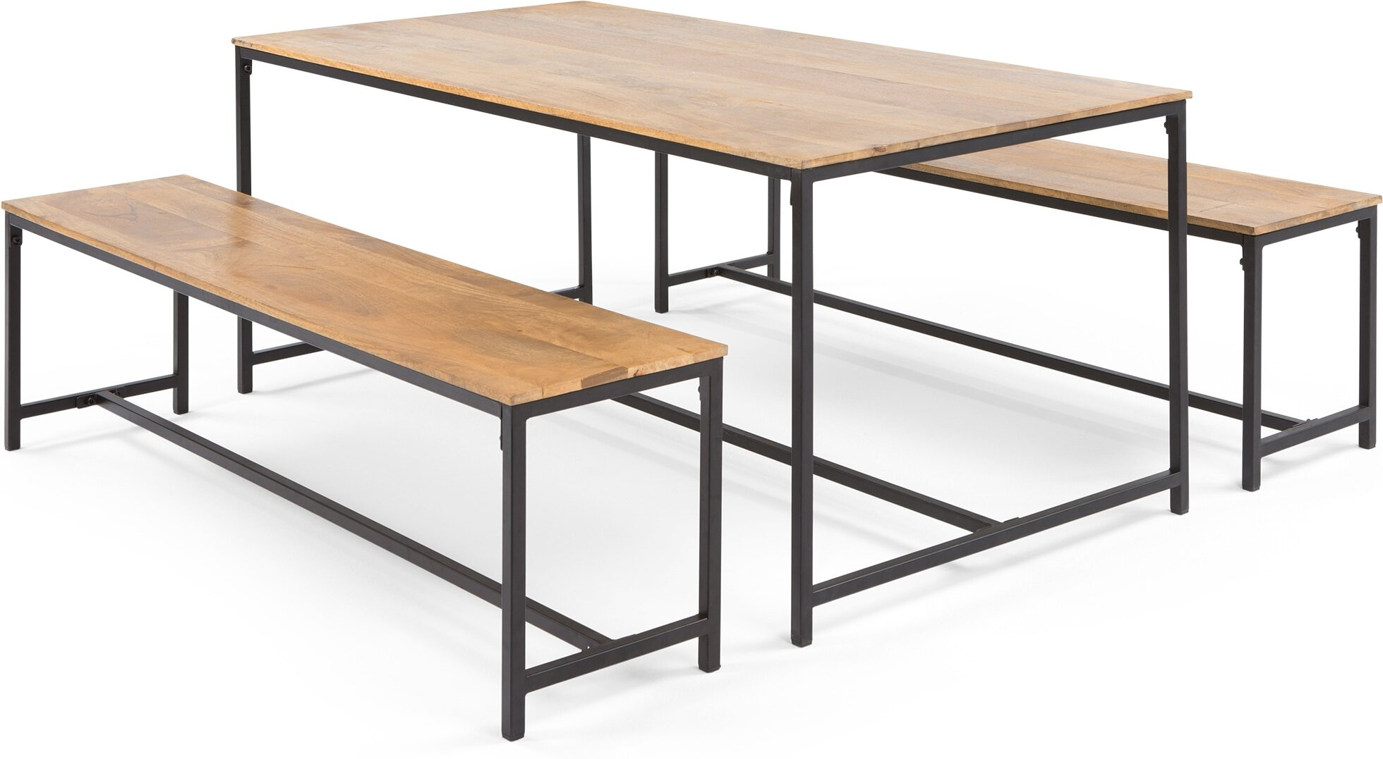 Lomond Dining Table Set Mango Wood and Black