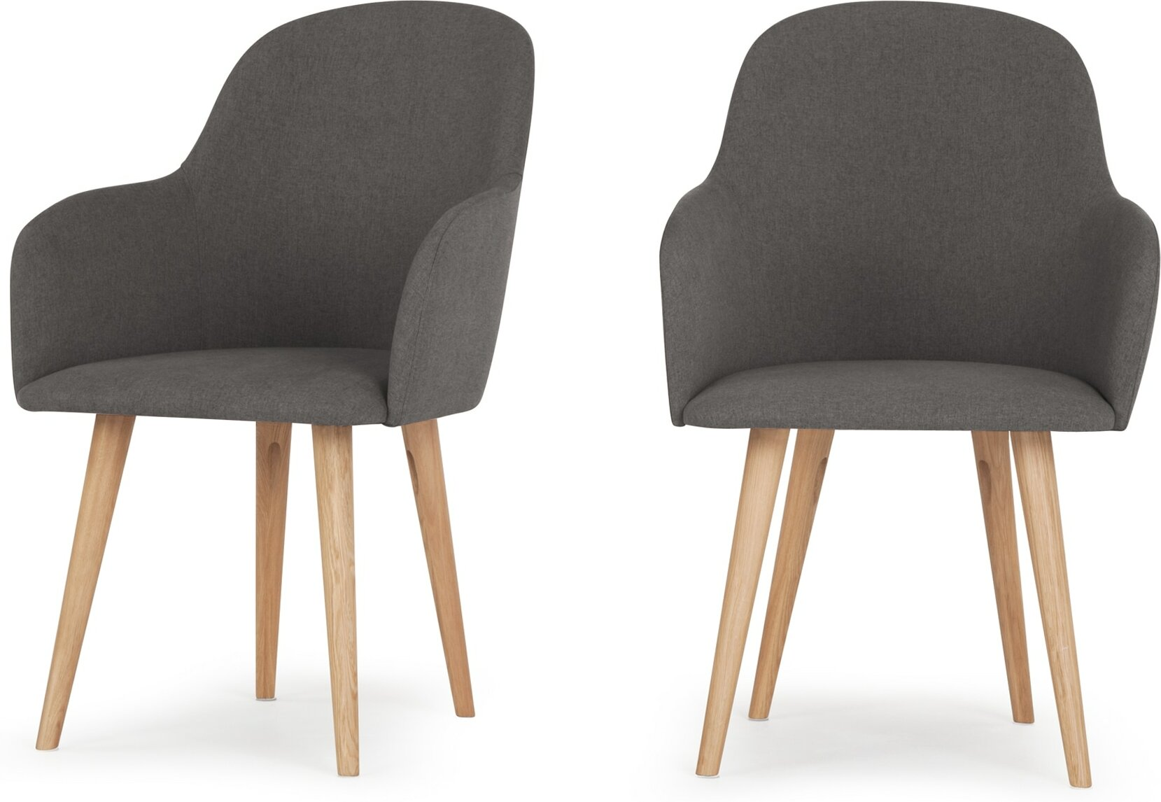 2 x Stig High Back Carver Dining Chairs Manhattan Grey and Oak
