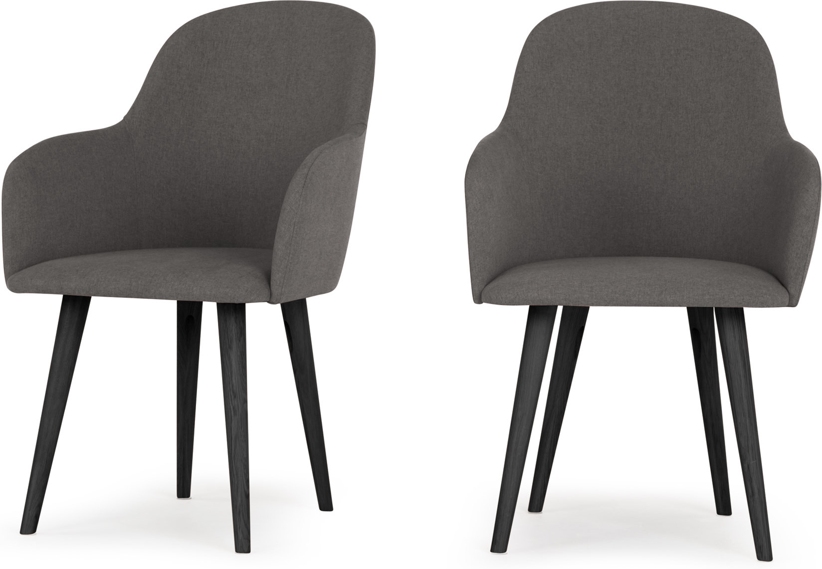 2 x Stig High Back Carver Dining Chairs Manhattan Grey and Black