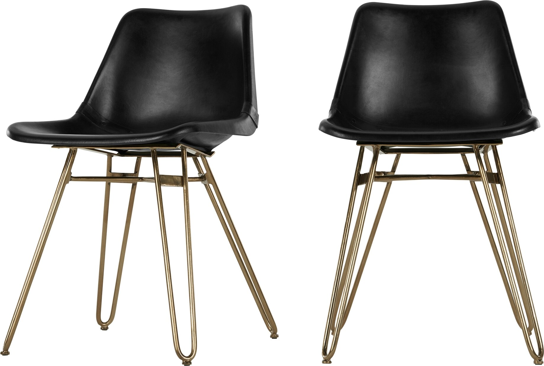 Image of 2 x Kendal Dining Chair, Black and Brass