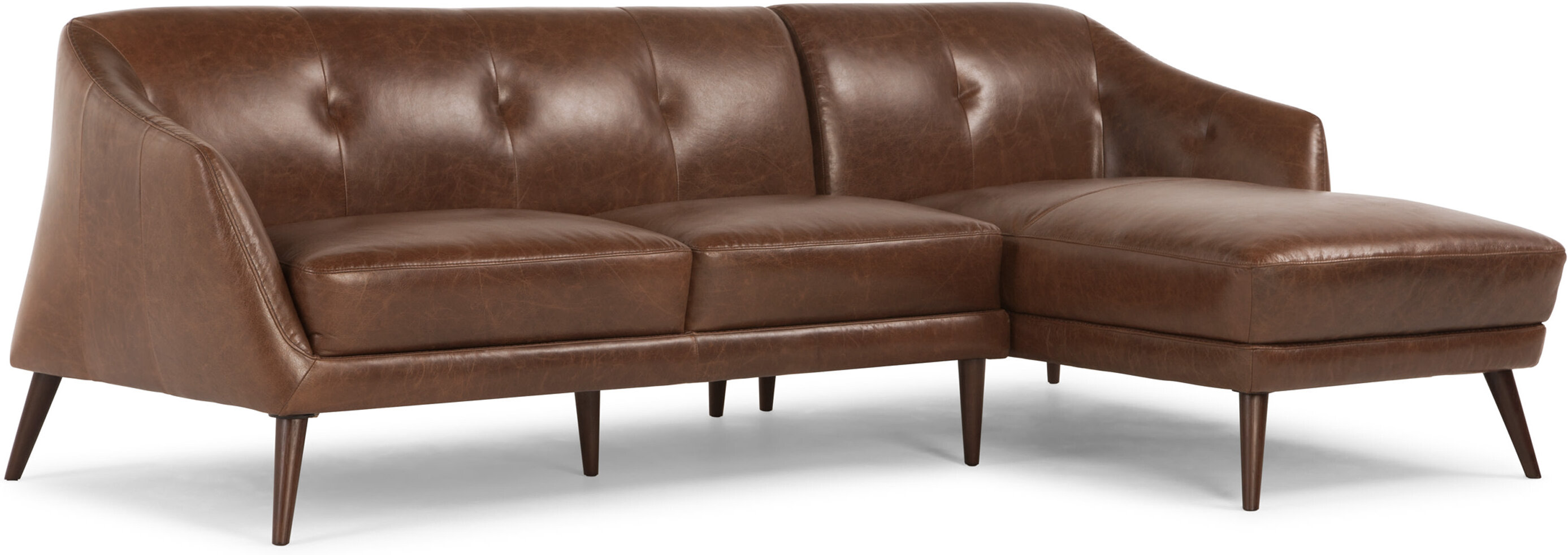 Nevada Right Hand Facing Corner Sofa Antique Cognac Leather