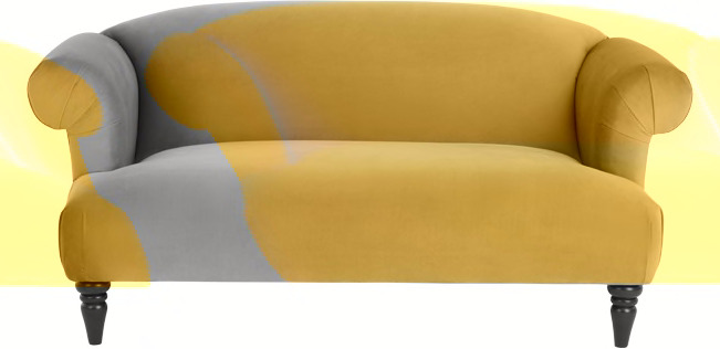 Claudia 2 Seater Sofa  Antique Gold Velvet
