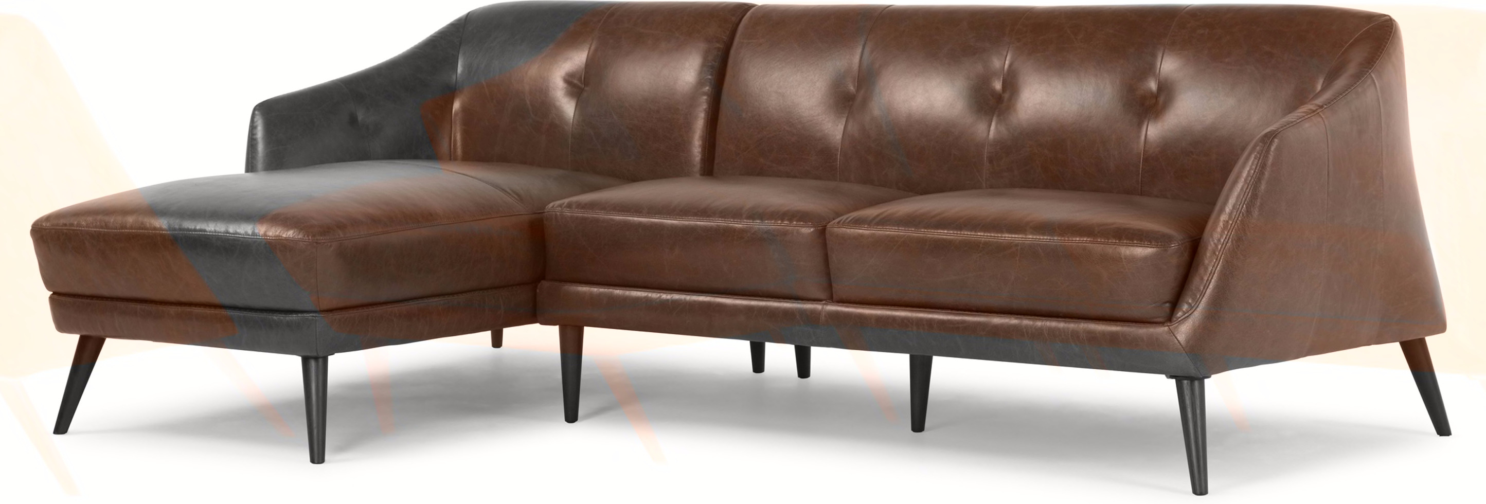 Nevada Left Hand Facing Corner Sofa Antique Cognac Leather