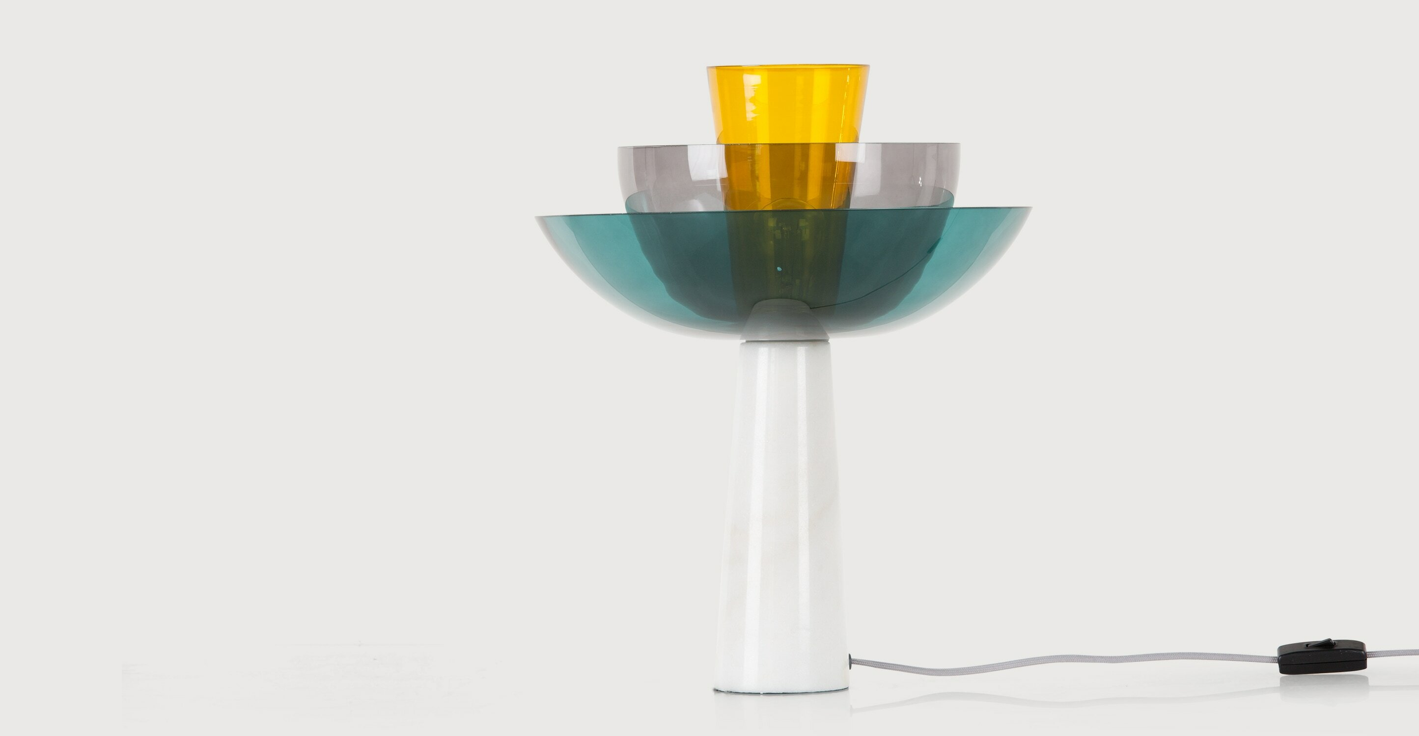 Lab Table Lamp Teal Deep Grey and Mustard