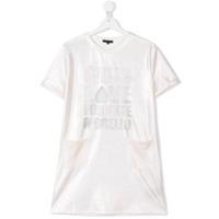 Frankie Morello Kids TEEN shimmery slogan dress - Metallic