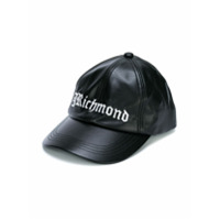John Richmond Kids leather look logo baseball cap - Black