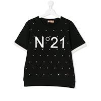 Nº21 Kids TEEN crystal embellished logo short sleeve sweatshirt - Black