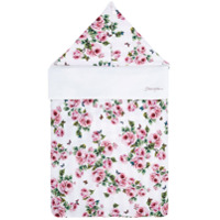 Dolce & Gabbana Kids rose print hooded nest - White