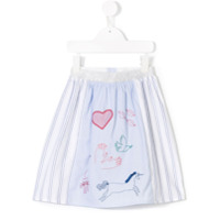 Anne Kurris embroidered striped skirt - Blue