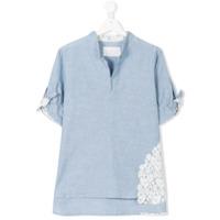 Lapin House lace insert shirt - Blue