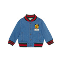 Gucci Kids Baby jersey denim bomber jacket with patch - Red