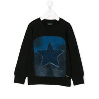 Diesel Kids denim star patch sweatshirt - Black