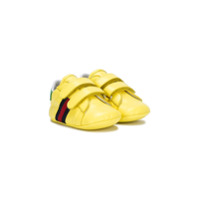 Gucci Kids Sylvie Web stripe pre-walkers - Yellow & Orange