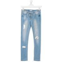 Elsy TEEN embellished-patches skinny jeans - Blue