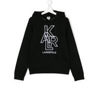 Karl Lagerfeld Kids embroidered logo hoodie - Black