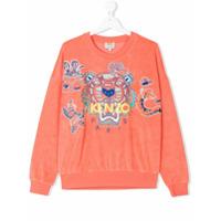 Kenzo Kids TEEN logo embroidered towelling sweatshirt - Yellow & Orange