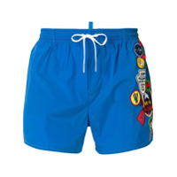 Dsquared2 badge printed swim shorts - Blue