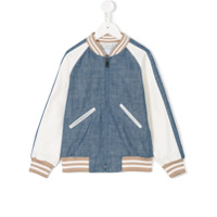 Dondup Kids contrast sleeve chambray bomber jacket - Blue