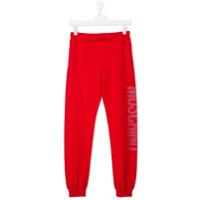 Moschino Kids metallic logo print sweatpants - Red
