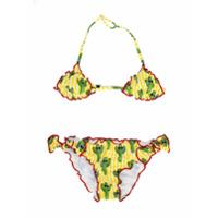 Mc2 Saint Barth Kids cactus print triangle bikini set - Yellow & Orange