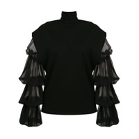 Gloria Coelho sheer layered sleeves blouse - Black
