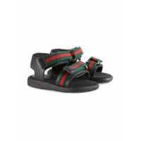 Gucci Kids Toddler leather sandal with Web straps - Black