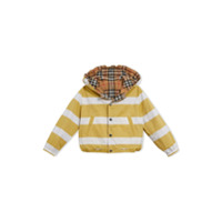 Burberry Kids Reversible Stripe and Vintage Check Cotton Jacket - Yellow & Orange