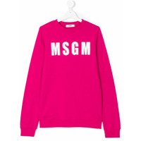 Msgm Kids logo print sweatshirt - Pink & Purple