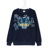 Kenzo Kids TEEN logo embroidered towelling sweatshirt - Blue