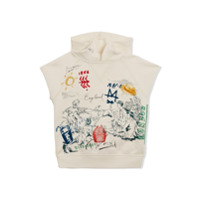 Burberry Kids Adventure Print Cotton Sleeveless Hoodie - Nude & Neutrals