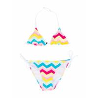 Mc2 Saint Barth Kids zig-zag print bikini - White