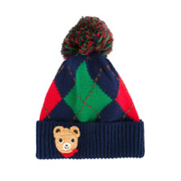 Miki House argyle knitted hat - Multicolour