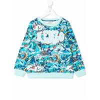 Kenzo Kids sea creature logo embroidered sweatshirt - Blue