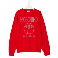 Moschino Kids embellished logo sweater - Red