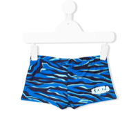 Kenzo Kids tiger stripe swim shorts - Blue