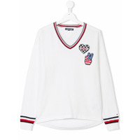 Tommy Hilfiger Junior TEEN iconic badge V-neck sweater - White