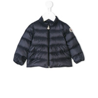 Moncler Kids patched arm padded jacket - Blue