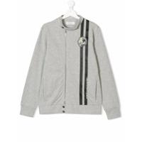 John Galliano Kids TEEN logo stripe zip sweatshirt - Grey