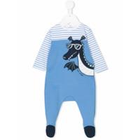 Little Marc Jacobs dragon patch striped pyjamas - Blue