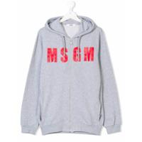 Msgm Kids logo print zipped hoodie - Grey