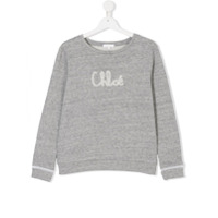 Chloé Kids logo print sweater - Grey