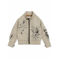 Burberry Kids Adventure Print Gabardine Harrington Jacket - Nude & Neutrals
